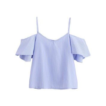 Women Blue Pinstripe Cute Ruffle Slip Summer Tops Fashion New Sexy Cut Out V Neck Blouse