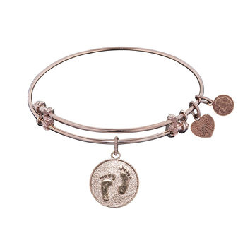 "Angelica Collection Non-antique Stipple Finish Brass ""barefoot the Sand"" Expandable Bangle"