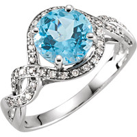 14kt White Gold Swiss Blue Topaz & 1/6 CTW Diamond Ring