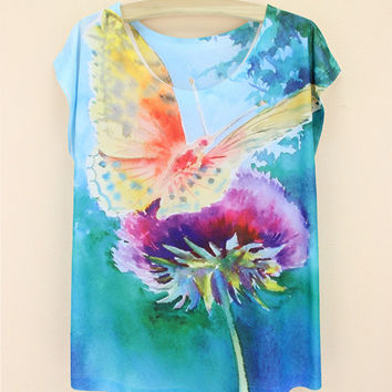 Summer Butterfly Print Round-neck Ladies Short Sleeve T-shirts [6050144513]
