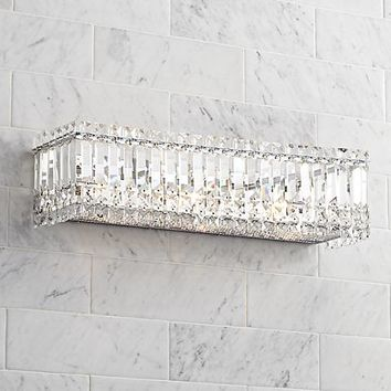 "Possini Euro Crystal Columns 23"" Wide Chrome Bath Light - #X8826 
