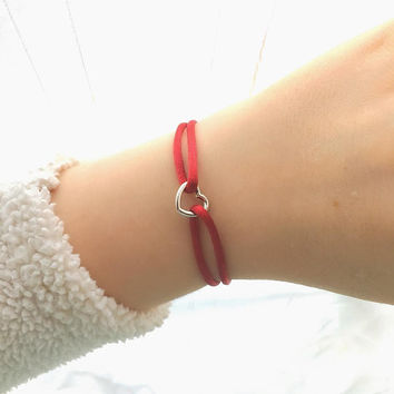 Heart Bracelet - Bridesmaid Gift, Bracelets for Women, Love Bracelet, Silk Bracelet, Red Bracelet