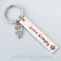 Live Simply, Key ring, personalized key chain, hand stamping, owl charm, tree, wedding gift set