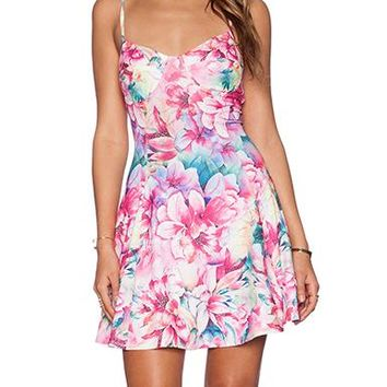 Summer Sun Dress - Floral Print / Shades of Pink Green / Spaghetti Straps
