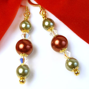 Holiday Pearl Earrings, Red and Green, AB Crystals, Handmade Dangles