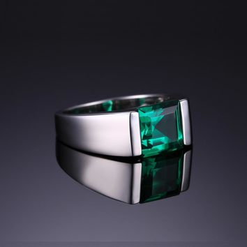 Men's Classic 2.34ct Emerald Ring  .925 Sterling Sliver