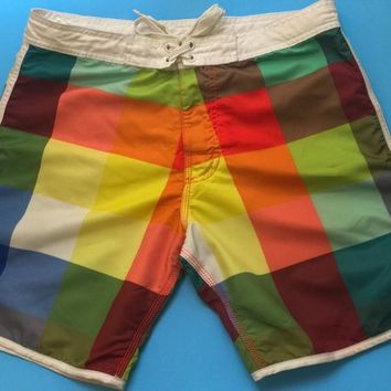 Men's 1990s Rainbow Swim Trunks / Multicolored Squares Pattern / Retro Mens Summer Shorts / Casual Colorful Mens Swimwear