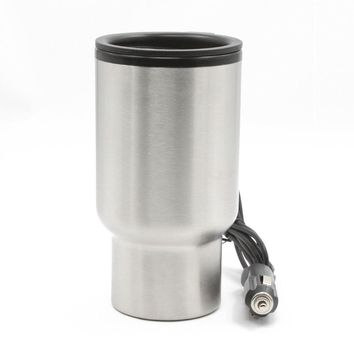 12V 450ml Stainless Steel Car Heated Cup Electronic Thermal Travel Mug Insulation Silver
