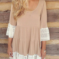 Flare Sleeve Lace Hem T-Shift Dress