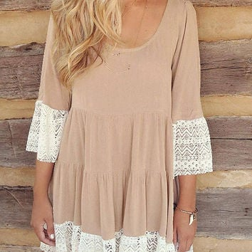 Khaki Flare Sleeve Lace Hem T-Shirt Dress