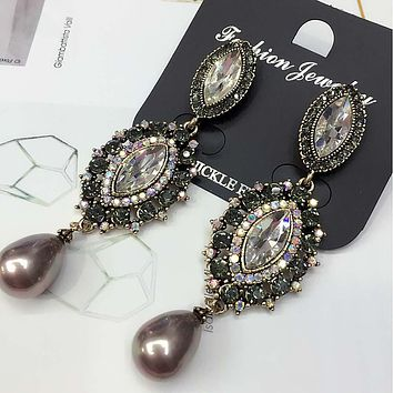 White Glass AB Rhinestone Pearl Fashion Long Earring Women Fashion Jewelry New arrival metal with gems stud for Girls E725
