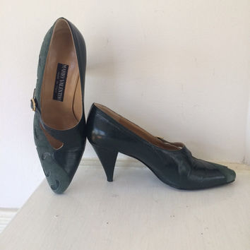 Vintage Mario Valentino Cut Out Green Leather And Suede Heels