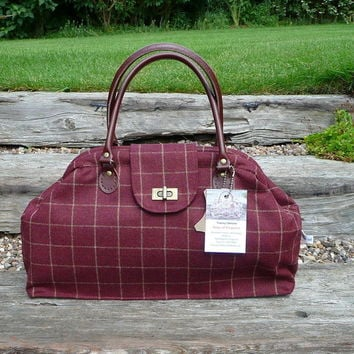 Retro Vintag Handbag,Carpet Bag, Maroon Wool Check with Twist Lock and Leather