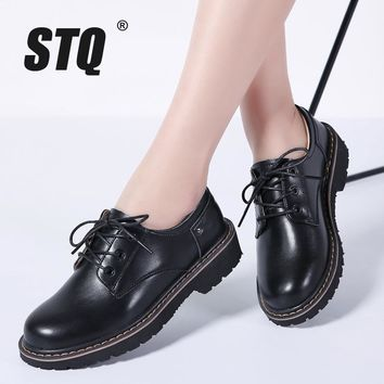 STQ 2018 Spring women oxford shoes casual flats dress black work shoes women genuine Leather lace up boat shoes moccasins WF031