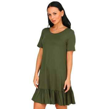 Casual Round Neck Short Sleeve Ruffle Swing Dress
