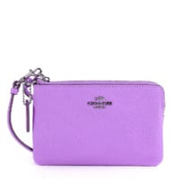 COACH Smth Corner Zip Wristlet In Leather