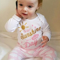 2016 autumn fashion baby girl clothes cotton Leisure long sleeve t-shirt+pants infant 2pcs newborn toddler baby clothing set