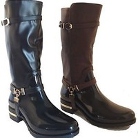 Womens Rain Flat Heel Boots Mid Calf Riding Zipper Black Shoes Rubber Size New