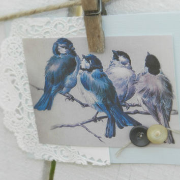 shabby notecards vintage birds friendship lace blue grey pink