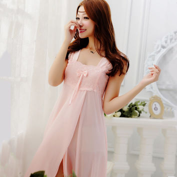 2015 summer style Embroidery sexy spaghetti strap nightgown red solid color sleepwear quality faux silk lounge