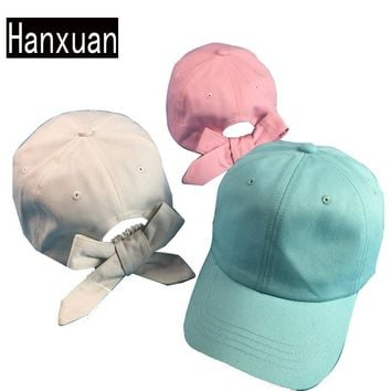 Hanxuan Fashion Women Cute Bowknot Curved Hat Summer Solid Candy Color Sun-shading Baseball Cap Female Cotton Lovely Hats
