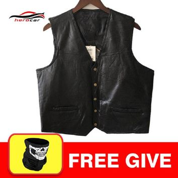 New Motorcycle Jacket Mens Genuine Leather Vest Punk Retro Classic Style Biker Club Casual Vest Moto Clothing Motorcycle Jacket