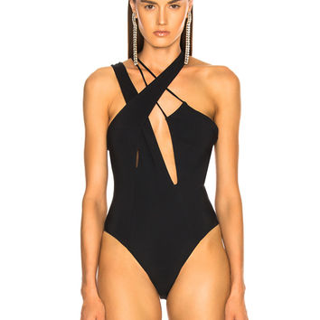 Faith Connexion Cutout Bodysuit in Black | FWRD