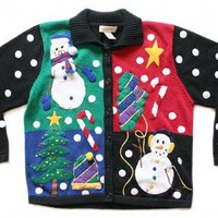 Shop Now! Ugly Sweaters: Polka Dot Explosion Tacky Ugly Christmas Sweater / Cardigan Women's Size Large (L) $25 - The Ugly Sweater Shop
