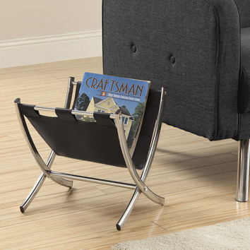 Magazine Rack - Black Leather-Look - Chrome Metal