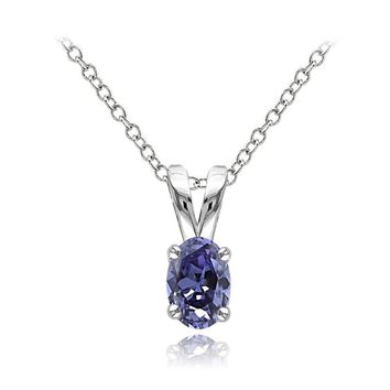 Sterling Silver 1/2ct Tanzanite Oval Solitaire Necklace