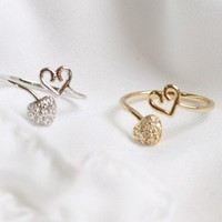 Small Crystal Accent Double Heart Cute Little Gold or Silver Adjustable Ring