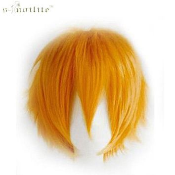 SNOILITE Short Wig Cosplay Party Straight Hair Halloween Real Synthetic Heat Resistant Full Head Wigs Natural Color