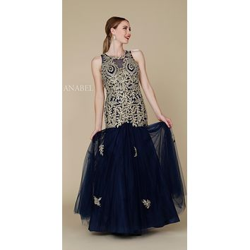 Navy Blue-Gold Long Mermaid Tulle Dress Open Back with Cut-Out Neckline