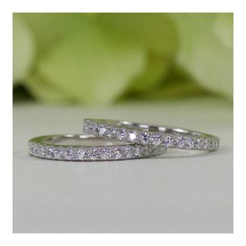 Sterling Silver French Pavé Double Row Fine Quality Cubic Zirconia Half Eternity Wedding Band Sets
