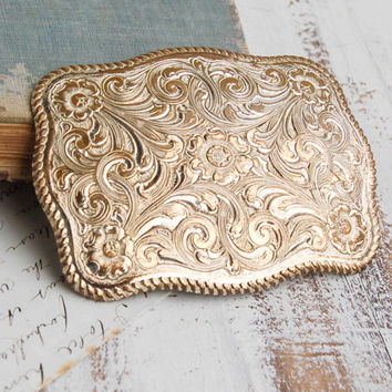 Vintage Cowboy BELT BUCKLE Country Western Rodeo Crumrine Big Silver