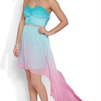 Dress with Twisted Bodice and Ombre Skirt