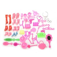 50 Pcs Doll Accessories Shoes Bag Mirror Hanger Comb Bracelet For Barbie Dolls Toys Child Gifts