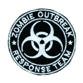 Black Zombie Outbreak Response Team Patch Iron on Applique Occult Clothing