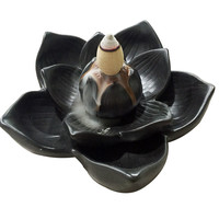 Creative Buddhism Gifts Ceramic Incense Base Smoke Backflow Lotus Petals Censer Tower Incense Burners Lotus Cone Incense Holder