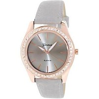 Rose Gold and Grey Leather Watch with Crystal Lined Face