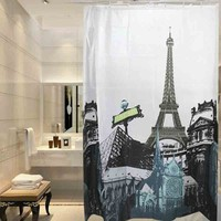 Paris Eiffel Tower Notre Dame Cathedral EVA Bath Shower Curtain W/Rings/180cmx180cm Shower Curtain Thickening Waterproof Modern the Eiffel Tower EVA Bathroom Curtain/Paris Eiffel Tower eva Vinyl Shower Curtain (Size: 180cm by 180cm, Color: Multicolor)