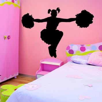 Vinyl Wall Decal Sticker Cheerleader with Pompoms #OS_MB700