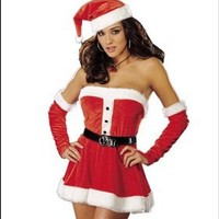 Santa's Sweetie Red Sexy Christmas Dress Costume with Belt (JC-0207)