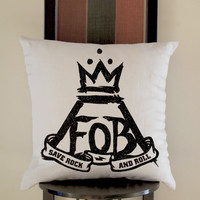 FOB Fall Out Boy save Rock And Roll Pillow, Pillow Case, Pillow Cover, 16 x 16 Inch One Side, 16 x 16 Inch Two Side, 18 x 18 Inch One Side, 18 x 18 Inch Two Side, 20 x 20 Inch One Side, 20 x 20 Inch Two Side