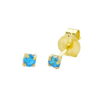 10k Yellow Gold Round Blue Topaz CZ Stud Earrings Cubic Zirconia