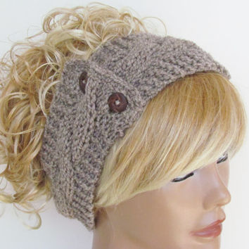 Beige Knitted Headband With Wooden Buttons Ear Warmer Turban Cozy Exclusive Favorite Women's Knit Fashion Hair Accessories
