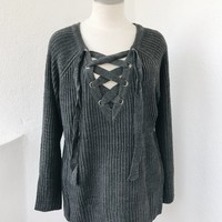 ANDREA OVERSIZE LACE UP SWEATER- CHARCOAL