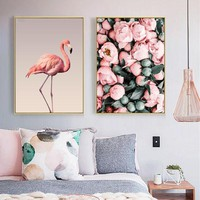 Fashion A4 Vintage Hd Art Prints Nordic Sea Flamingo Roses Poster Hippie Wall Picture Canvas Painting Office Home Decoration