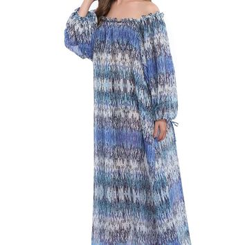 Topmelon Boho Women Fashion Ethnic Style Floral Print Maxi Dress Strapless Long Sleeve Loose Chiffon Long Dress