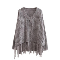 Women's Hot Sale V-neck Tassel Long Sleeve Warm Knit Sweater (Size: M, Color: Gray) = 1945816964